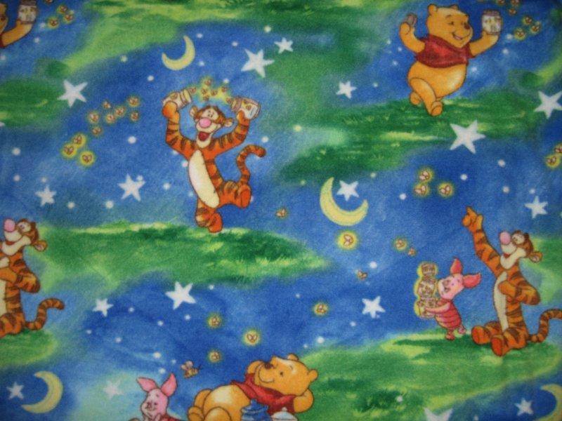 A  Winnie the Pooh Tigger Piglet fireflies handmade toddler fleece blanket 45