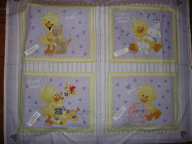 Suzy's Zoo Set of Four Pillow panels Witzy Bunny Elephant Giraffe Bear