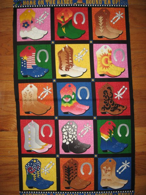 Cowboy Boots Southwest quilt squares Fabric Pillow Panel or Wall Panel set