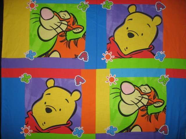 Licensed Disney Winnie the Pooh and Tigger Fabric pillow panel set of four