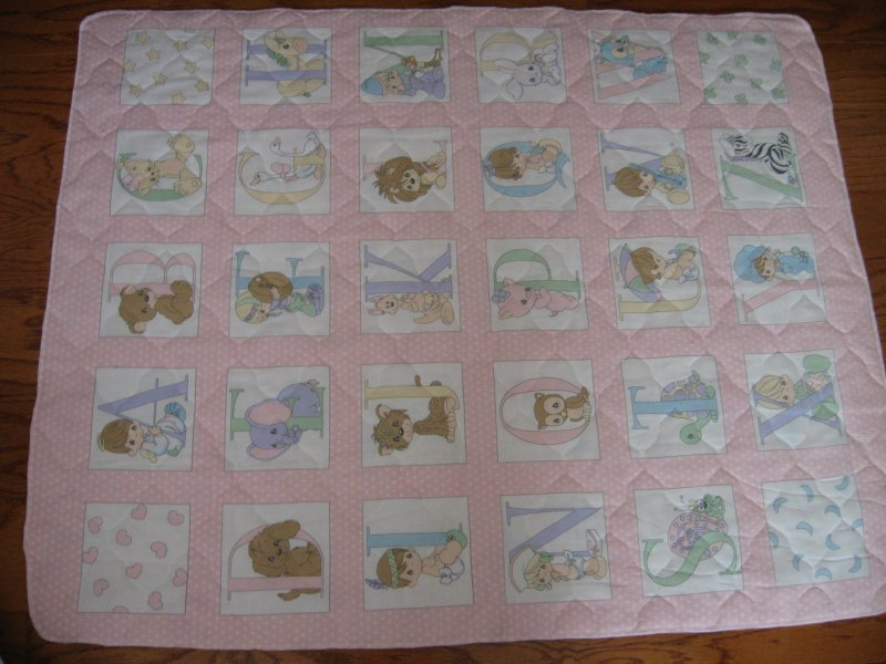 Precious Moments Alphabet Pink Quilted Crib Panel Finished serged Edge