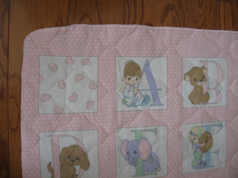 Image 2 of Precious Moments Alphabet Pink Quilted Crib Panel Finished serged Edge