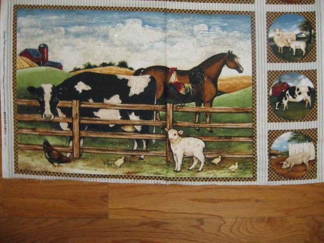 Image 0 of Farm animal cow horse rooster lamb Fabric Wall Panel Pillow Panel set to sew /