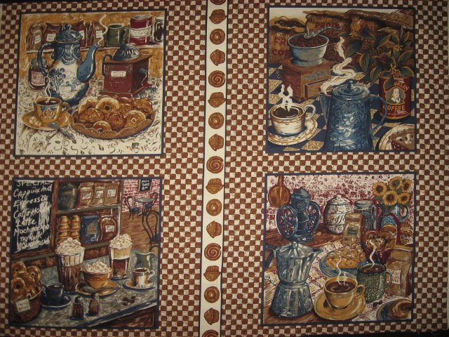 Image 0 of Coffee Cafe Donuts Vintage Look Fabric pillow panels set of four