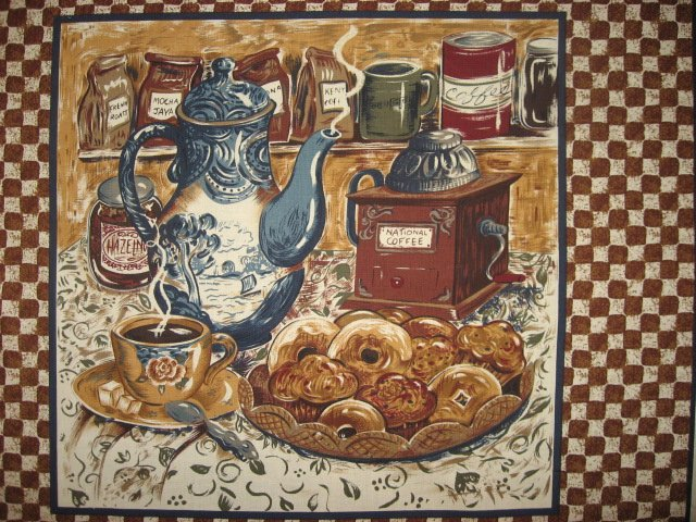 Image 2 of Coffee Cafe Donuts Vintage Look Fabric pillow panels set of four
