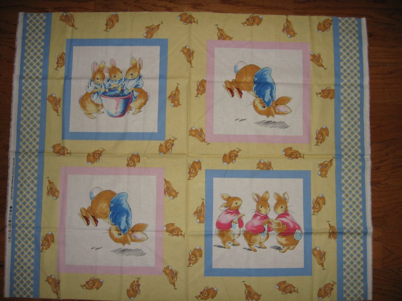 Fabric pillow panels set of 4 Licensed Peter Rabbit Sisters Bunny Bunnies