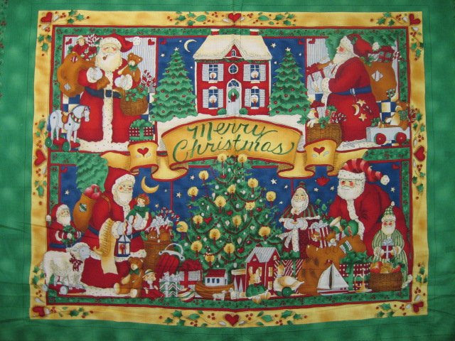 Image 0 of Christmas Santa Vintage look Toys Presents Fabric wall panel to sew /