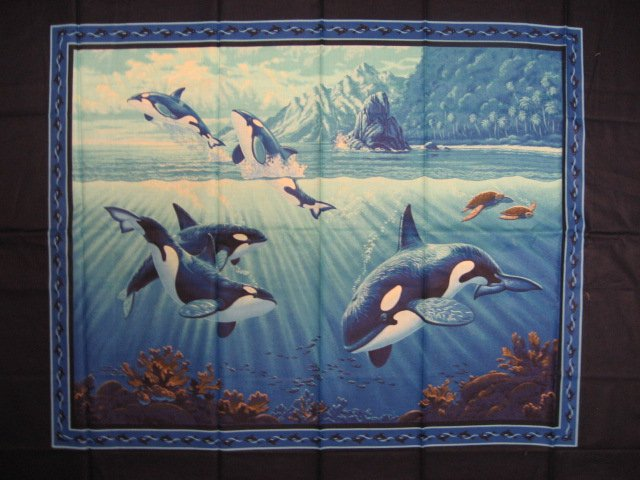 Image 0 of Whale Sea Ocean Water Coral Fish Island Clouds Sunshine Fabric Wall Panel sew //