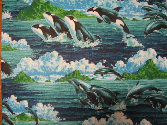 Image 0 of Dolphins Whales dolphin whale sea ocean fish soft 100% cotton fabric by the yard