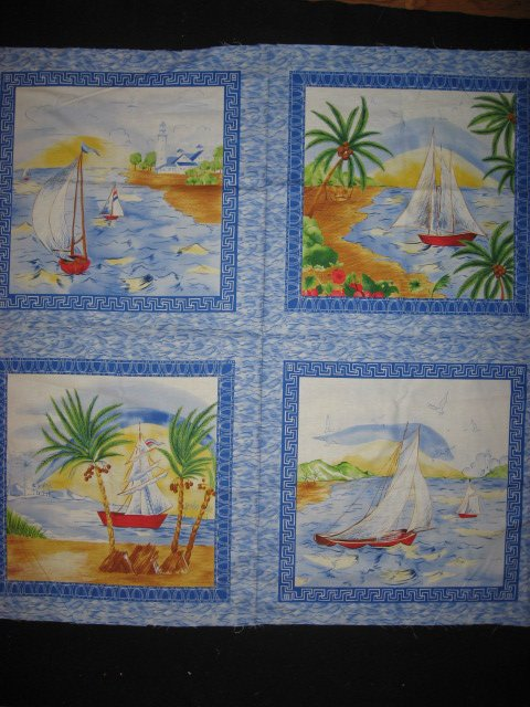 Sailboat Tropical Island Ocean Lake Scene  Fabric pillow panels set of four