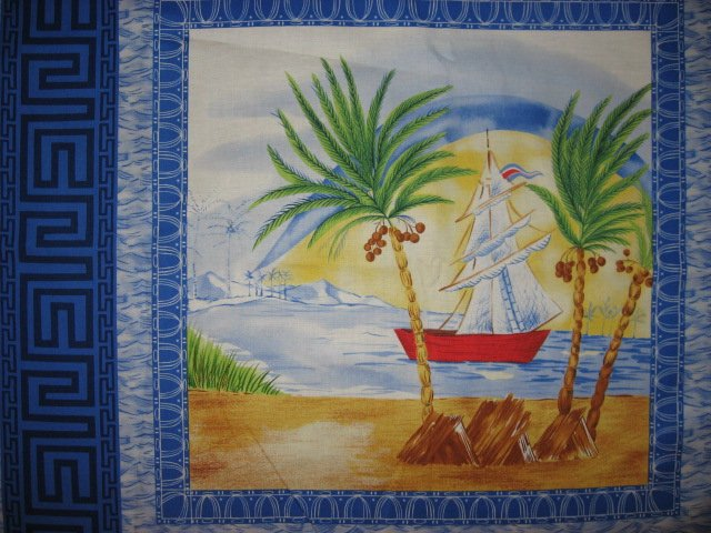 Image 1 of Sailboat Tropical Island Ocean Lake Scene  Fabric pillow panels set of four