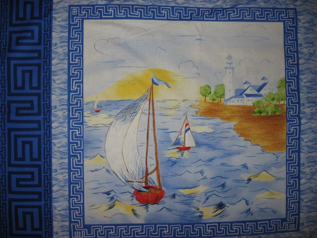 Image 2 of Sailboat Tropical Island Ocean Lake Scene  Fabric pillow panels set of four