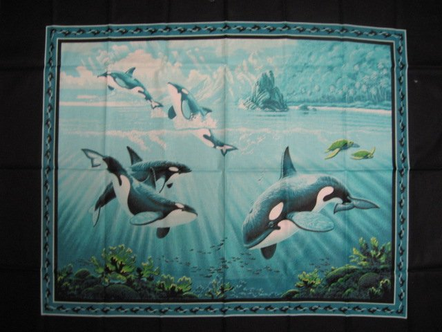 Image 0 of Whale Fish Island Sea Ocean Water Coral Bluegreen Fabric Wall Panel //