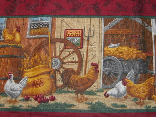 Country Barn Farm Chicken Rooster Sunflower Wagon 100% cotton fabric