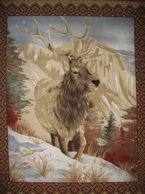 Elk Mountain deer with antlers Southwest Fleece Blanket Panel with finished edge