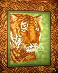 Image 2 of Tiger face jungle animal bed size Fleece blanket Panel finished edges