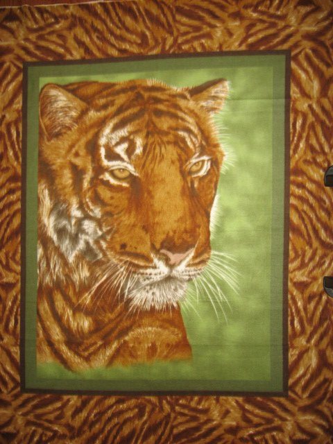 Image 3 of Tiger face jungle animal bed size Fleece blanket Panel finished edges