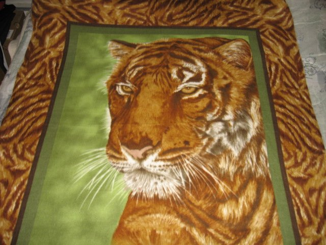 Tiger Face Jungle Animal Bed Size Fleece Blanket Panel