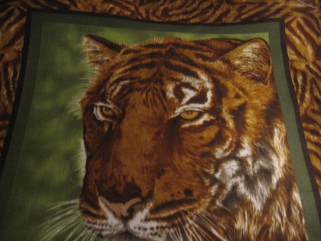 Image 1 of Tiger face jungle animal bed size Fleece blanket Panel finished edges