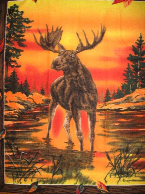 Moose wilderness sunset fleece blanket with finished edges