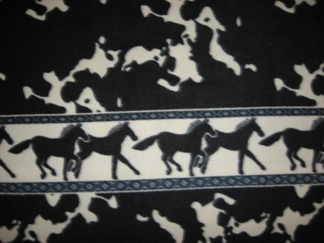 Horse wild animal black and white fleece by the yard  tie or sew