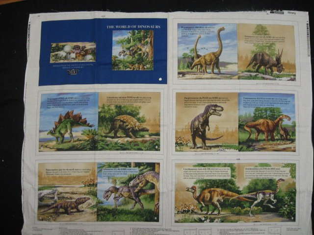 Dinosaur with names and pronunciations Teacher Soft book fabric Panel to Sew /