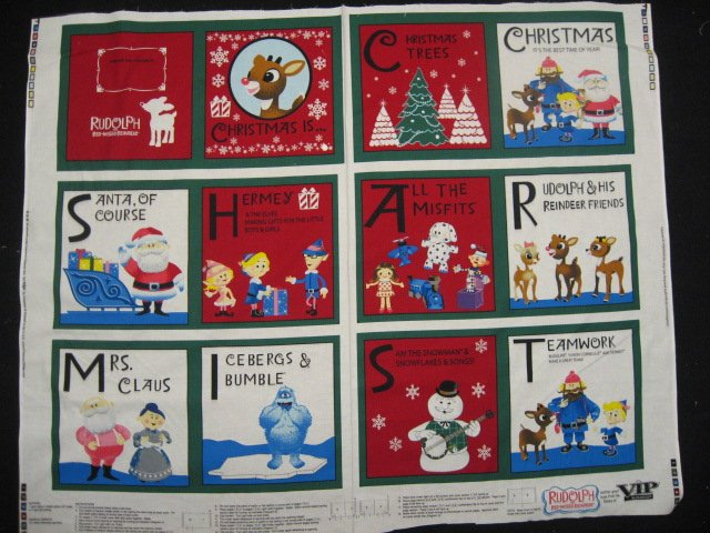 Rudolph The Red Nose Reindeer Letters baby Soft book fabric Panel to Sew