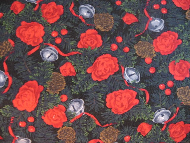 Image 0 of Alexander Henry Christmas cotton fabric Rose Pine cone Ribbon bells /