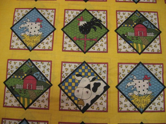 Image 0 of Country Farm Barn Cow Chicken Eggs Rooster Squares  cotton Fabric /