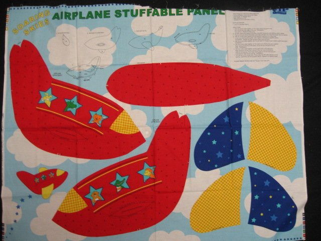 Airplane animals child Stuffable fabric panel to sew