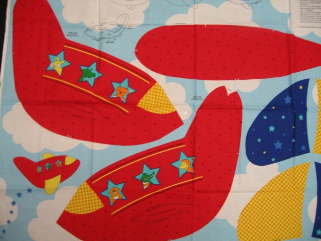 Image 1 of Stuffable Airplane with animals Monkey Alligator Dog Cat child fabric panel