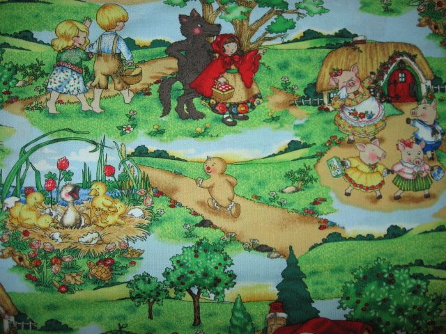 Mary Engelbreit Storybook Riding Hood Duckling Hansel Gretel fabric by the yard