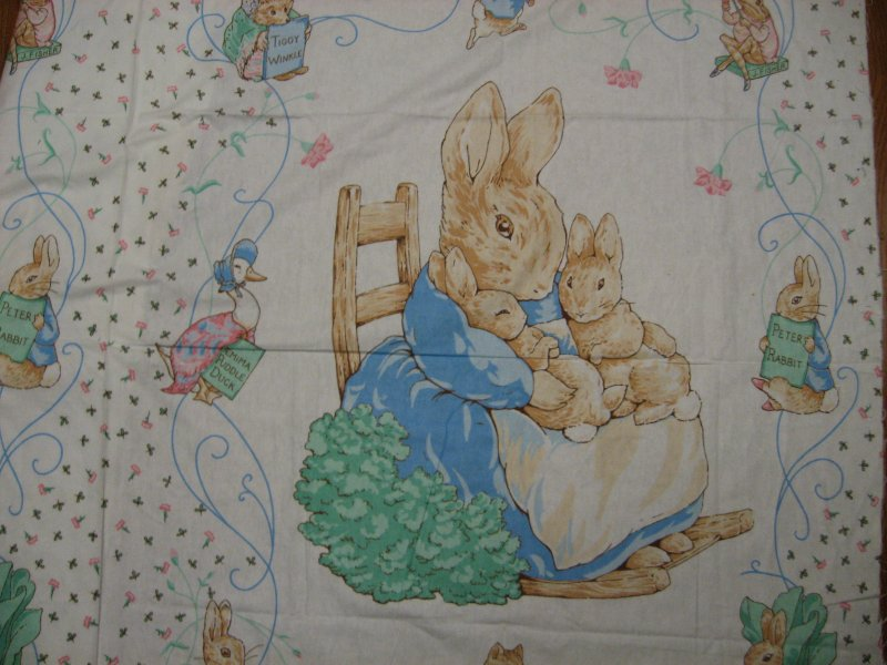 Peter rabbit flannel panel.100% cotton flannel By the Yard RARE