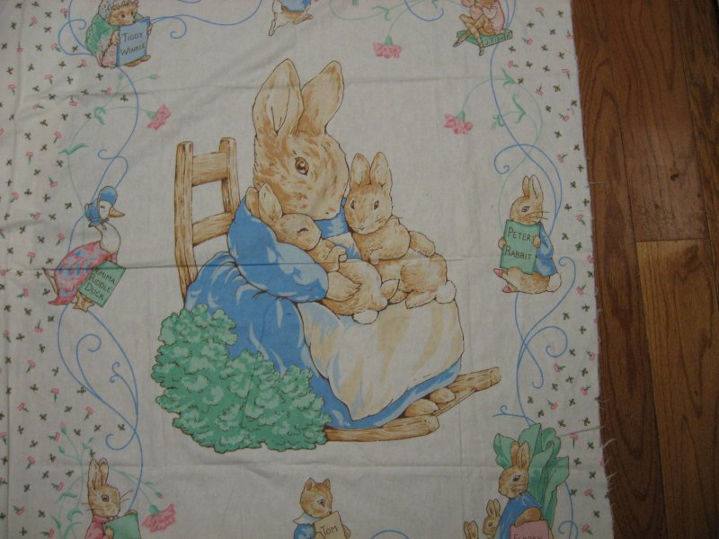 Image 1 of Peter rabbit flannel panel.100% cotton flannel By the Yard RARE