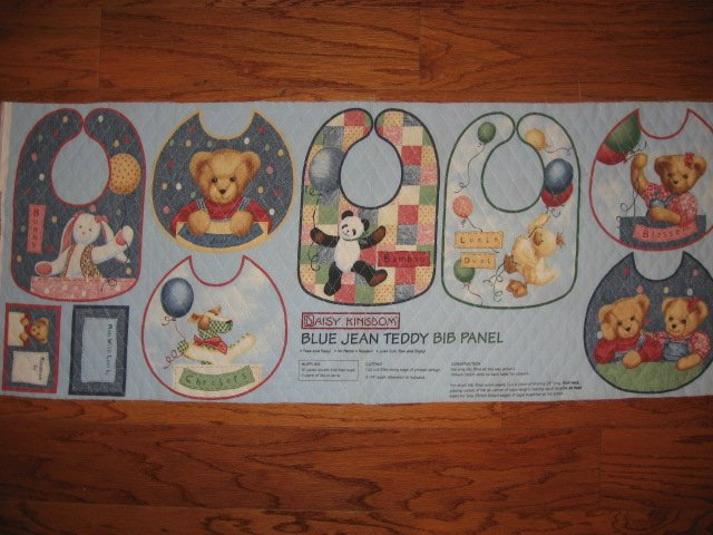 Quilted Bibs Panel Blue Jean Teddy Toy Duck Panda Dog You Bind the Edge