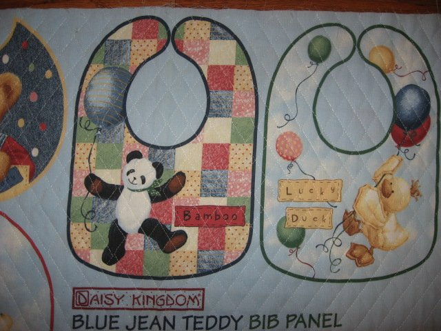 Image 1 of Quilted Bibs Panel Blue Jean Teddy Toy Duck Panda Dog You Bind the Edge