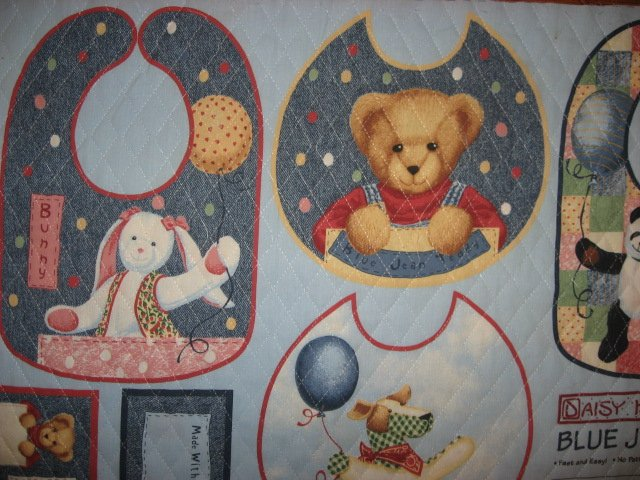 Image 2 of Quilted Bibs Panel Blue Jean Teddy Toy Duck Panda Dog You Bind the Edge