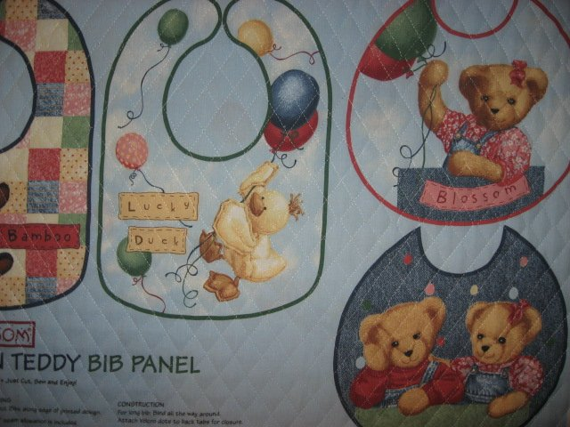 Image 3 of Quilted Bibs Panel Blue Jean Teddy Toy Duck Panda Dog You Bind the Edge