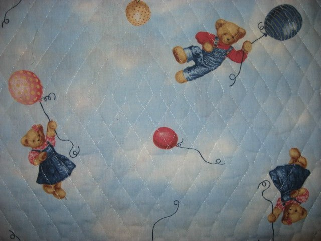 Image 4 of Quilted Bibs Panel Blue Jean Teddy Toy Duck Panda Dog You Bind the Edge