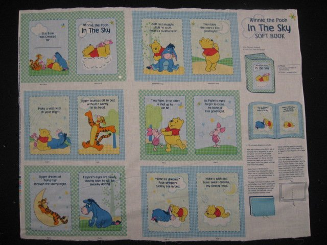 Winnie the Pooh Tigger Piglet Eeyore Sky baby Soft book fabric Panel to sew /