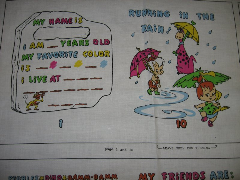Image 1 of Flintstones  soft Book Fabric Panel to sew vintage