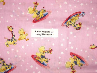 Suzy's Zoo Witzy Duck Patches Giraffe Star Licensed Pink Fabric By The 1/2 Yard