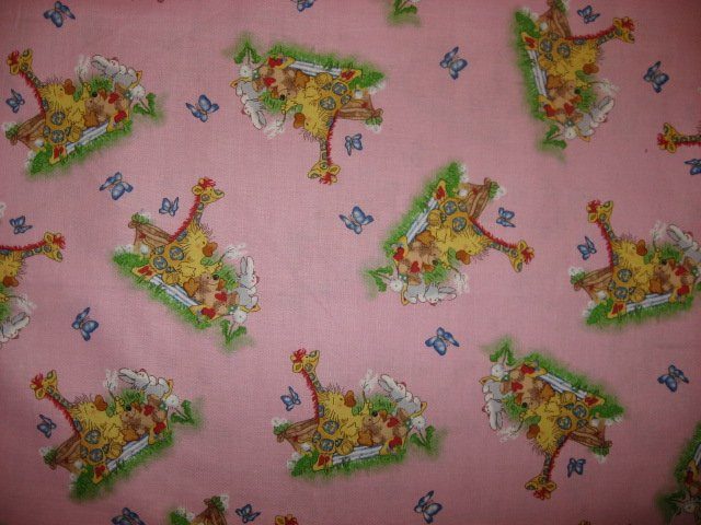 Suzy's Zoo Witzy Duck Patches Giraffe Bear Pink Licensed Fabric By 1/2  Yard