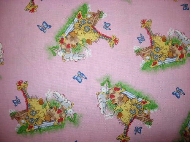 Image 1 of Suzy's Zoo Witzy Duck Patches Giraffe Bear Pink Licensed Fabric  Butterfly /