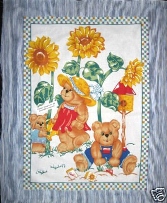 Dressed Teddy bears SunFlower garden Crib Quilt Fabric Panel to Sew