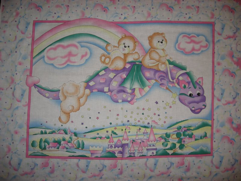 Dragon Fabric purple animal Teddy bear Castle Rainbow Crib Quilt Panel To sew