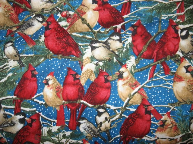 Image 0 of Cardinals Male Female Chickadee Wilmington Cotton fabric by the yard