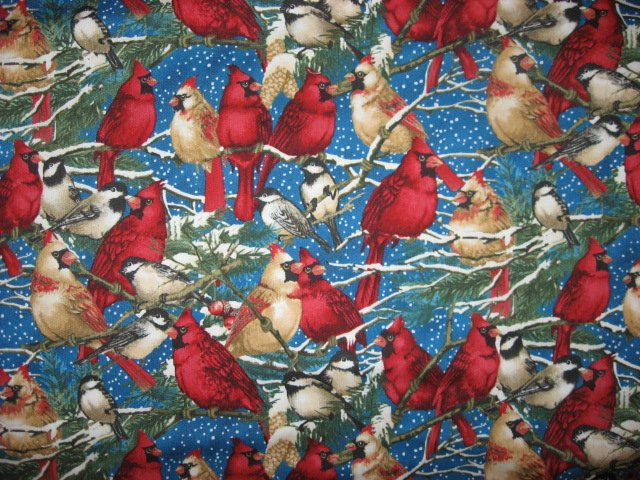 Image 1 of Cardinals Male Female Chickadee Wilmington Cotton fabric by the yard