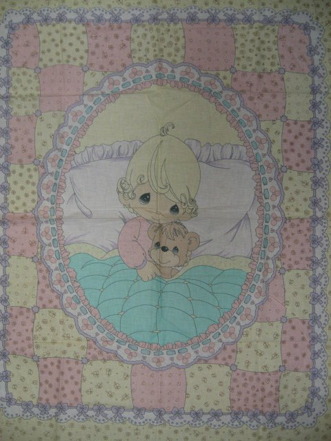 Precious Moments Girl and Teddy Bear rare Crib Quilt Fabric Panel to sew