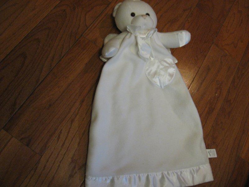 White Angel Bear Lovey Blanket With Wings Satin Binding